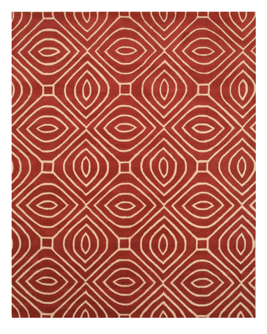 Hand-tufted Wool Red Contemporary Geometric Marla Rug