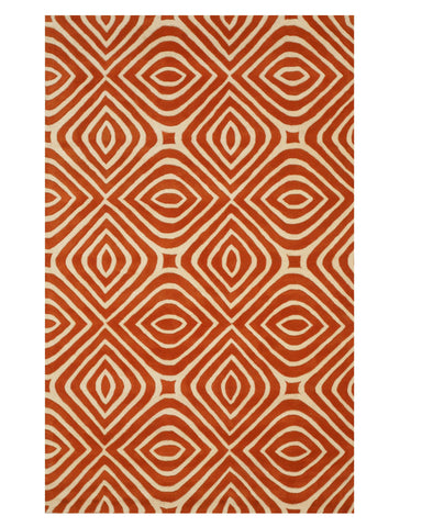 Hand-tufted Wool Orange Transitional Geometric Marla Rug