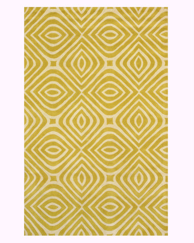 Hand-tufted Wool Yellow Transitional Geometric Marla Rug