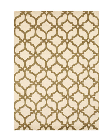 Hand-tufted Wool Ivory/Brown Traditional Trellis Moroccan Rug