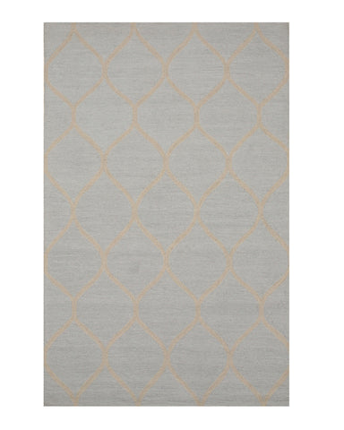 Hand-tufted Wool Light Blue Traditional Trellis Moroccan Rug