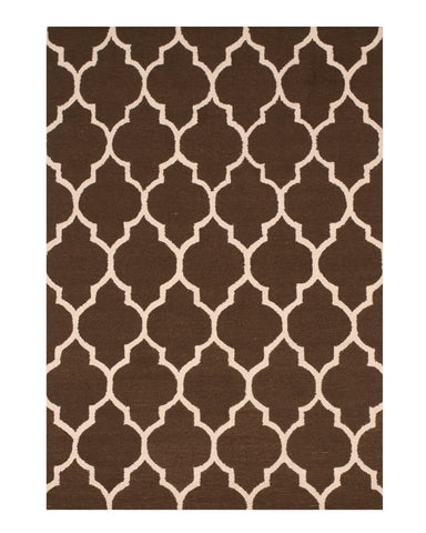 Hand-tufted Wool Brown Traditional Trellis Moroccan Rug