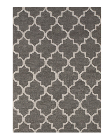 Hand-tufted Wool Gray Traditional Trellis Moroccan Rug