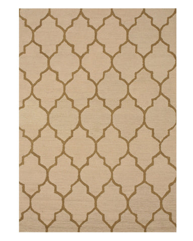 Hand-tufted Wool Light Beige Traditional Trellis Moroccan Rug