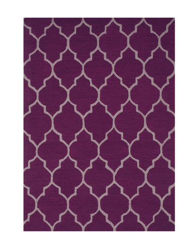 Hand-tufted Wool Purple Traditional Trellis Moroccan Rug