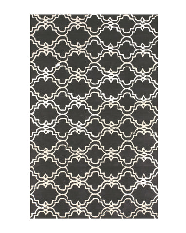 Hand-tufted Wool Black Traditional Trellis Moroccan Rug