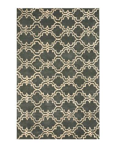 Hand-tufted Wool Green Traditional Trellis Moroccan Rug