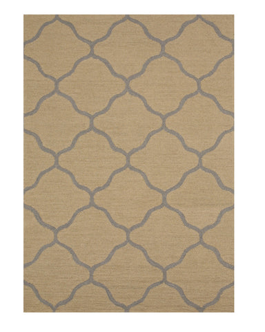 Hand-tufted Wool Beige Traditional Trellis Moroccan Rug