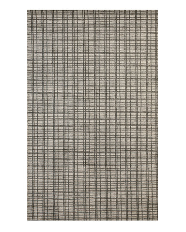 Handmade Bamboo Silk Silver Contemporary Geometric Thomas Rug
