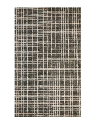 Handmade Bamboo Silk Gray Contemporary Geometric Thomas Rug