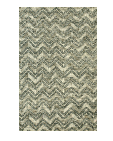 Handmade Wool Green Contemporary Geometric Andrea Rug
