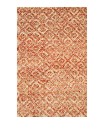 Handmade Wool Red Contemporary Geometric Andrea Rug
