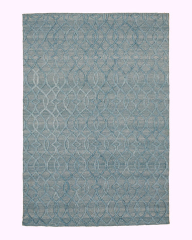 Handmade Wool & Viscose Blue Transitional Trellis Raga Rug