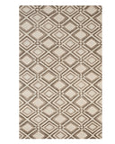 Handmade Wool Beige Contemporary Geometric Raga Rug