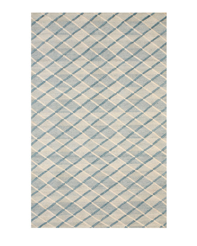 Handmade Wool Blue Contemporary Geometric Raga Rug