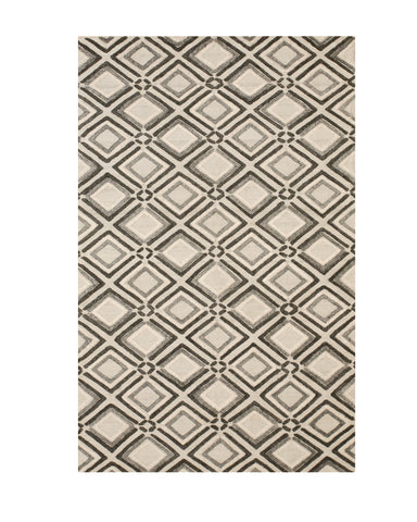 Handmade Wool Gray Contemporary Geometric Raga Rug