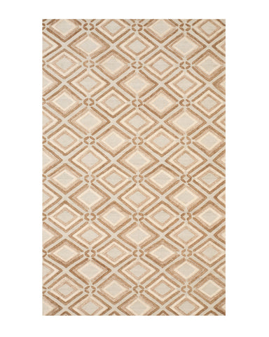 Handmade Wool Brown Contemporary Geometric Raga Rug