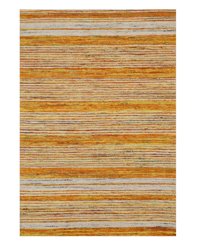 Handmade Cotton Gold Bohemian Stripe Sereh Rug