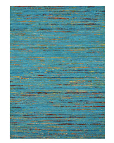 Handmade Cotton Blue Bohemian Stripe Sereh Rug