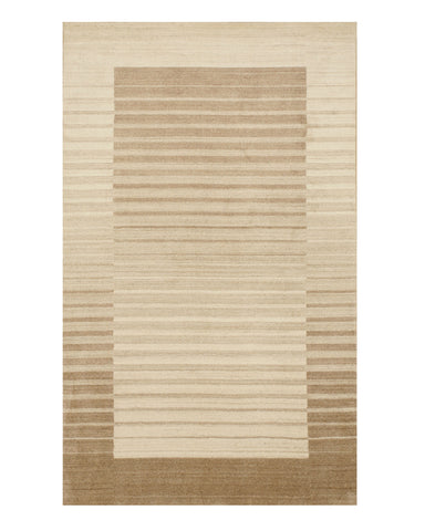 Ivory/Brown Solid Handmade Urban Rug
