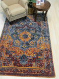 Blue Erased Serapi Geometric Rug