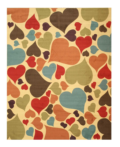 Ivory Transitional Abstract Hearts Rug