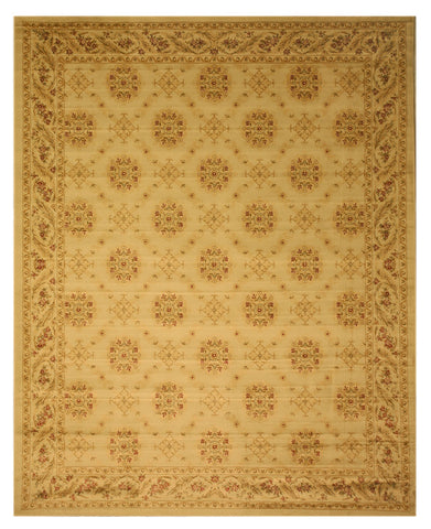 Beige Transitional Floral English Garden Trellis Rug