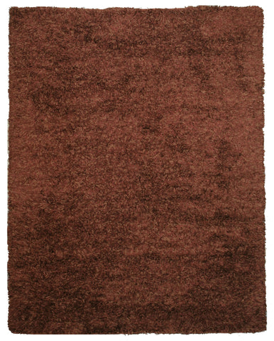 Handwoven Wool & Viscose Brown Contemporary Solid Shaggy Rug