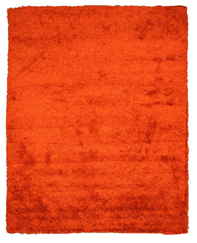 Handwoven Wool & Viscose Orange Contemporary Solid Shaggy Rug
