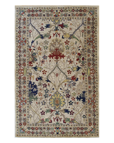 Hand-tufted Wool Ivory Traditional Oriental Morris Rug