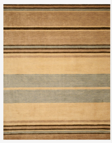 Hand-tufted Wool Beige Contemporary Stripe Alden Rug