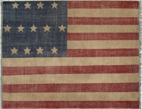 Hand-knotted Wool Red Casual Flag American Flag Rug