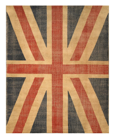 Hand Knotted Wool Red Casual Flag Union Jack British Flag Rug