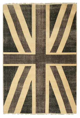 Hand-knotted Wool Black Casual Flag Union Jack British Flag Rug
