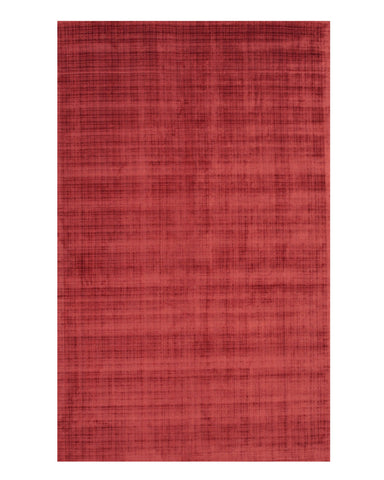 Handwoven Viscose Red Contemporary Solid Milano Rug