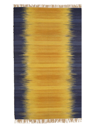 Handmade Wool Yellow Transitional Ombre Santa Fe Rug