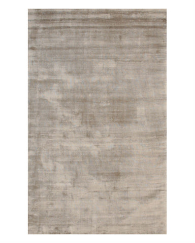 Handmade Viscose Gray Contemporary Solid Random-cut Pile Rug