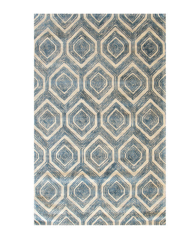 Hand-tufted Wool & Viscose Ivory Traditional Geometric Havana Rug