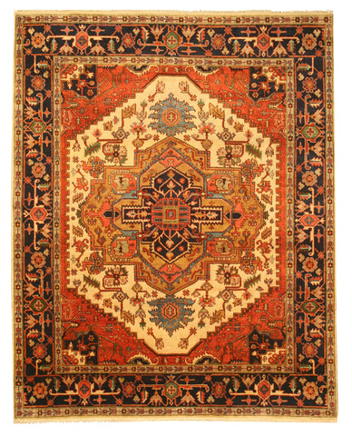 Hand-knotted Wool Ivory Traditional Oriental Serapi Rug