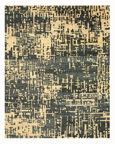 Hand-knotted SARI-Silk Blue Contemporary Abstract Anand Rug