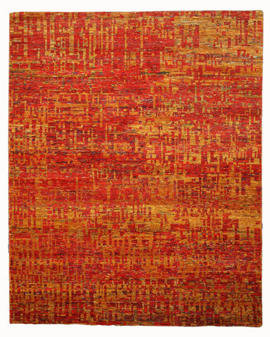 Hand-knotted SARI-Silk Red Contemporary Abstract Anand Rug