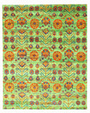 Hand-knotted SARI-Silk Green Transitional Oriental Kotan Rug