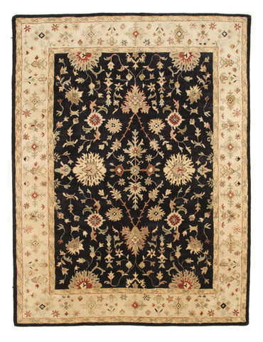 Black Agra Hand-tufted Wool Rug