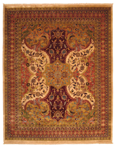 Hand-knotted Wool Ivory Transitional Oriental Polonaise Rug