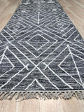 Handwoven Wool Black Contemporary Geometric Punja Killim Rug