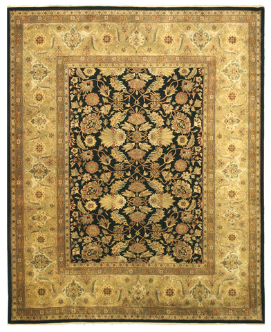Hand-knotted New Zealand Wool Black Traditional Oriental Tabriz Rug (3' x 5')