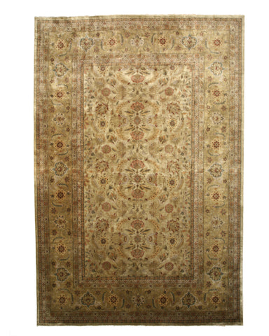 Hand-knotted Wool Gold Traditional Oriental Tabriz Rug
