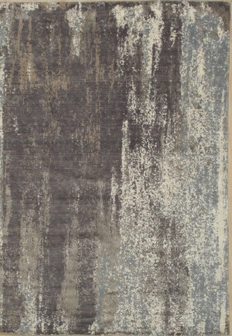 Hand Crafted Wool & Viscose Gray Contemporary Abstract  Rug