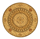 EORC SHT12BN Hand Tufted Wool Gombad Rug, 7'9 Round, Brown