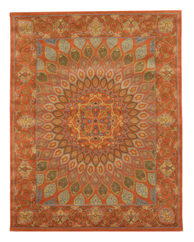 Hand-tufted Wool Rust Traditional Oriental Gombad Rug